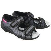 33-378 lp-0755 czarny brokat, kapcie dziecięce, rozmiary: 26-30 - czarny marki Ren but