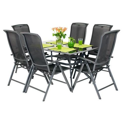 Meble ogrodowe składane aluminiowe vegas stół i 6 krzeseł - czarne marki Edomator.pl