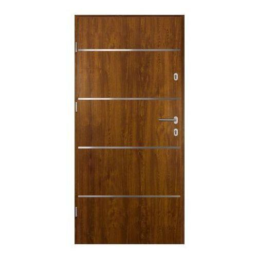 Drzwi zewnętrzne stalowe Elbrouz 80 lewe złoty dąb