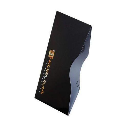 ✅ bezpieczne etui chroniące zbliżeniowe karty płatnicze rfid - poziome etui antykradzieżowe na karty zbliżeniowe (czarne, złote logo) marki Koruma