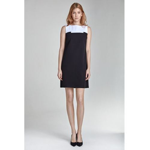 Czarująca sukienka dwukolorowa - czarny - s25, Nife, 36-44
