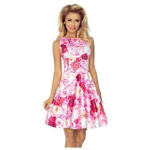 Sukienka w róże rozkloszowana bez rękawów z dekoltem w łódkę, Numoco, 34-44