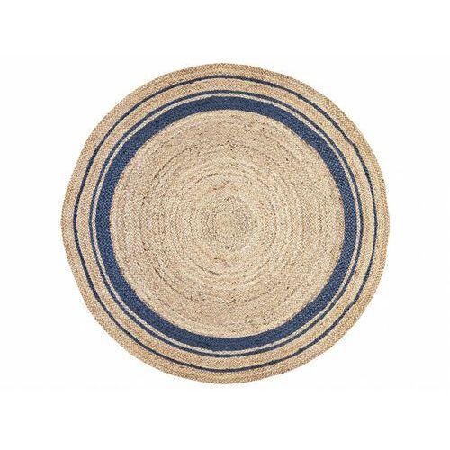 Vente-unique Okrągły dywan bhopal - 100% juty - śred. 150 cm - kolor naturalny i niebieski