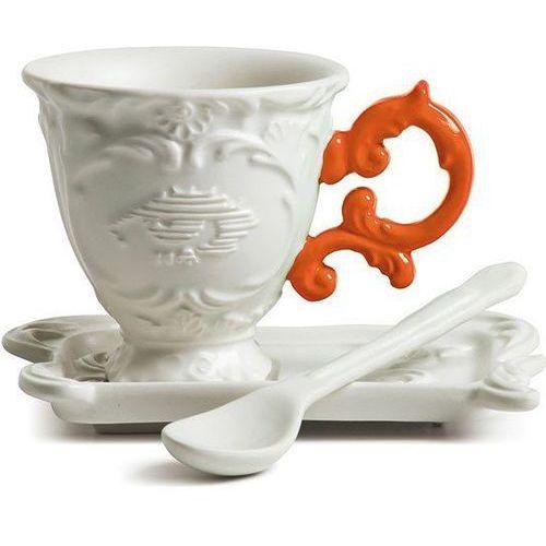 Filiżanka do kawy ze spodkiem i łyżeczką i-coffee pomarańczowa marki Seletti