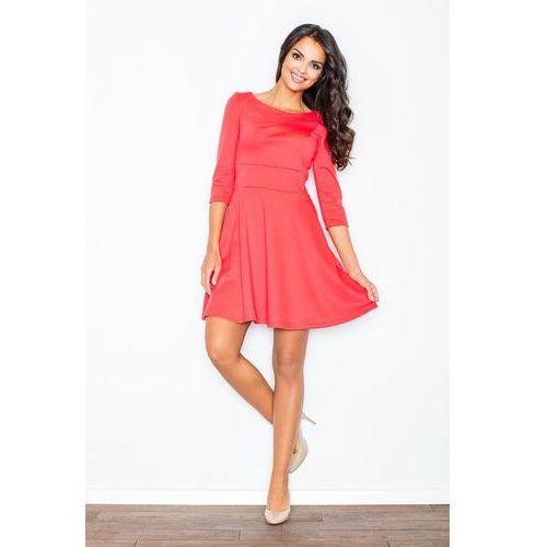 Koralowa Elegancka Sukienka z Rozkloszowanym Dołem, w 4 rozmiarach