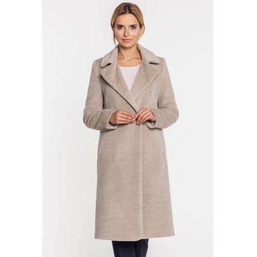 Beżowy, długi płaszcz z suri alpaki i wełny dziewiczej - Patrizia Aryton, 1 rozmiar