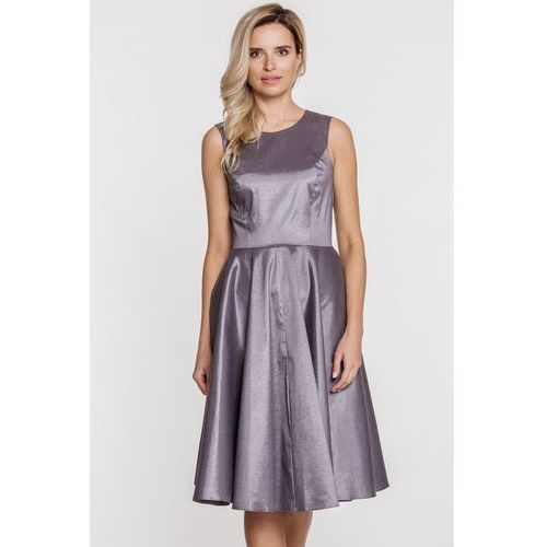 Srebrna sukienka z lśniącej tkaniny - Jelonek