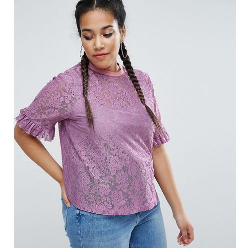 t-shirt in lace with ruffle sleeve and stripe tipping - purple marki Asos curve