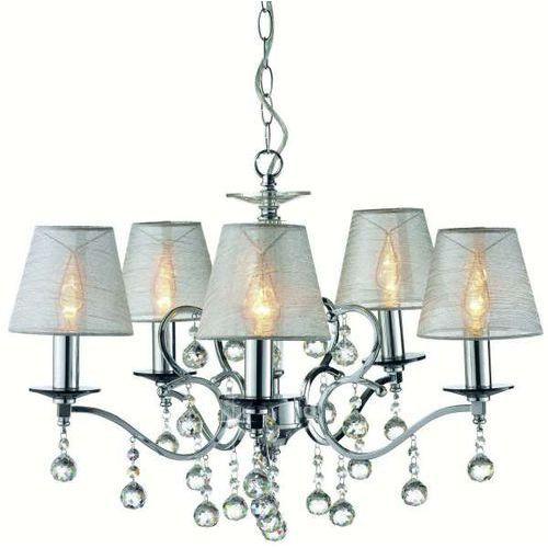 Markslojd Żyrandol lampa wisząca grensholm 102442 abażurowa oprawa świecznikowa z kryształkami crystal chrom