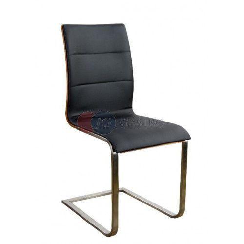Krzesło bez podłokietnika Orzech stelaż chromowany Paged A-SIENAoc
