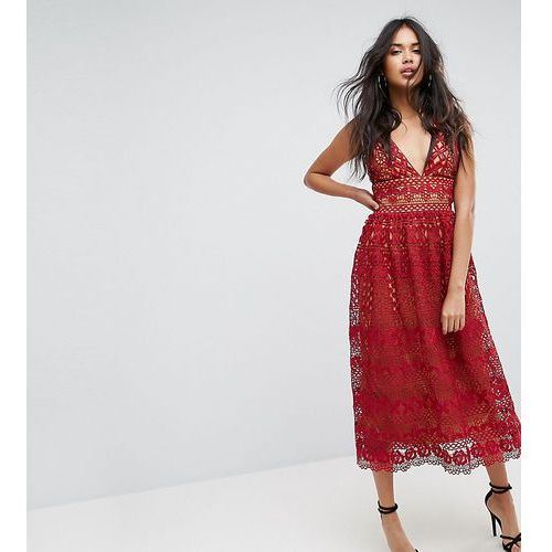v neck midi lace dress - red marki Boohoo