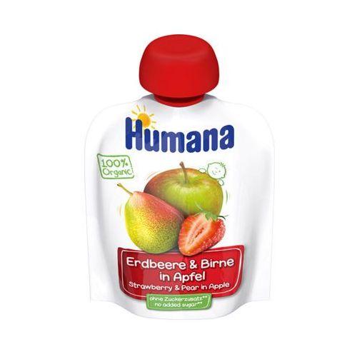 Humana  90g jabłko gruszka truskawka mus 100% organic po 8 miesiącu