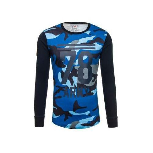Bluza męska bez kaptura z nadrukiem moro-granatowa denley 0746, Athletic