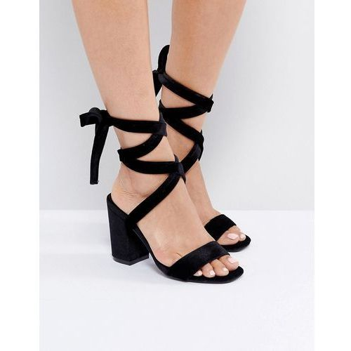 Park lane tie ankle block velvet heel sandal - black