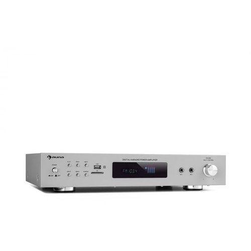 amp-9200 bt, cyfrowy wzmacniacz stereo, 2x60w, rms, bt, 2xmikro, srebrny marki Auna
