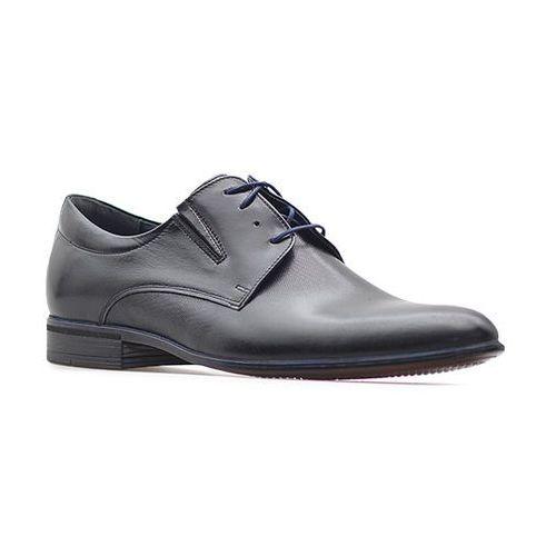 Pantofle Pan 775 Czarne tłoczony+ granat, kolor niebieski
