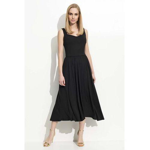 Czarna Sukienka Midi na Ramiączkach z Szerokim Dołem, kolor czarny