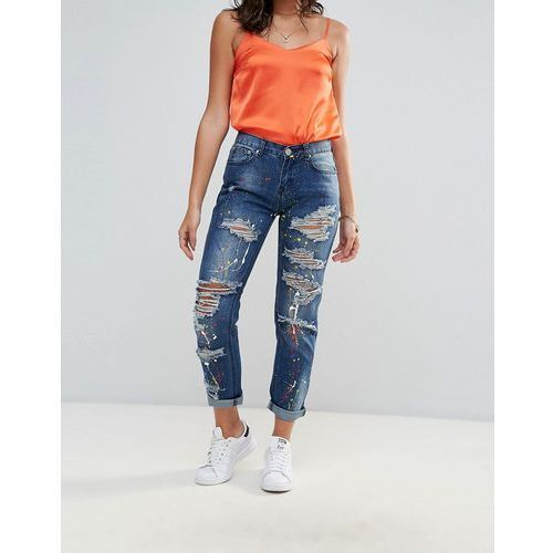 Glamorous Paint Splattered Boyfriend Jeans - Blue, boyfriendy