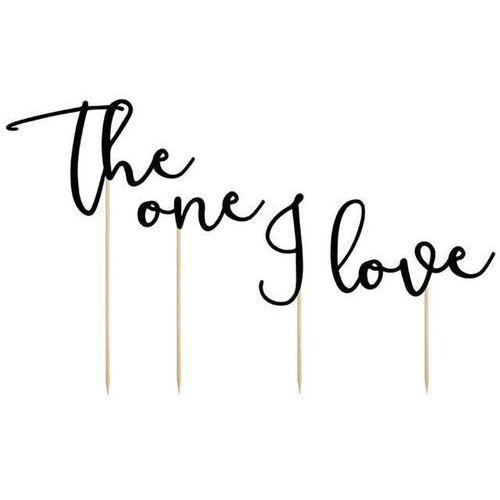 """Dekoracja na tort """"the one i love"""", czarna, , 15-24 cm, 4 szt marki Partydeco"""