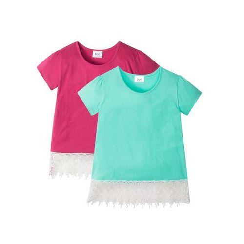 T-shirt (2 szt.) niebieski mentolowy + jeżynowo-czerwony marki Bonprix