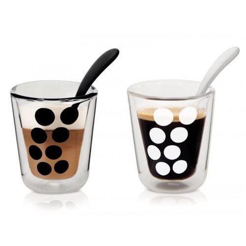 Zak! designs Zestaw 2 szklanek z podwójną ścianką 200 ml z łyżeczkami zak! design