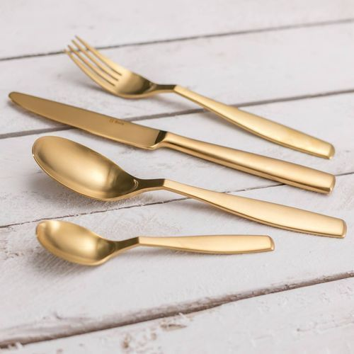 Dekoria Sztućce Gaya Gold Satin PVD komplet dla 6 osób 24części, 43,5 × 32,5 × 5 cm