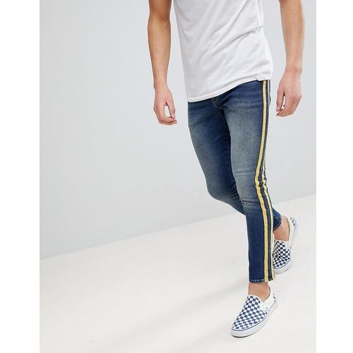 ASOS Super Skinny Jeans In Mid Wash With Yellow Side Stripes - Blue, skinny