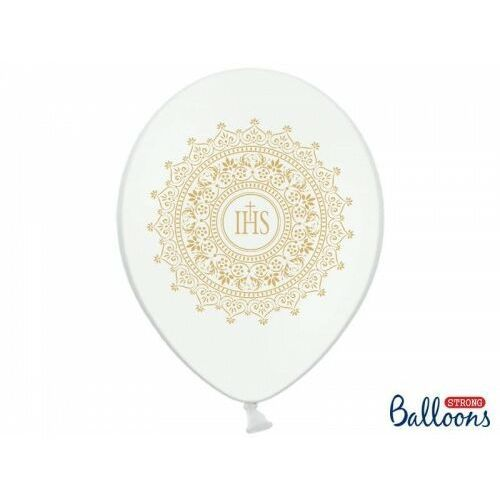 Oms Balony komunijne złota koronka białe 6szt (5901157493613)