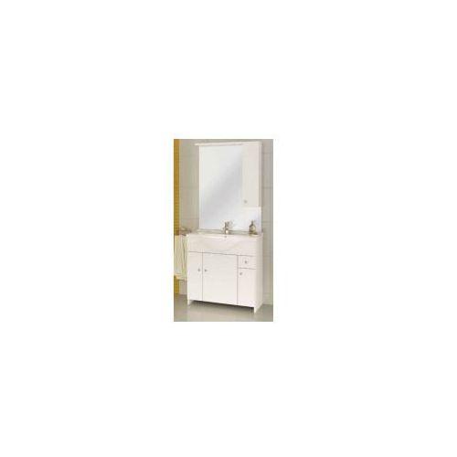 malibu z75 zestaw łazienkowy szafka 4d1s + umywalka + lustro z oświetleniem, biały 106-z-07501+1523, marki Deftrans