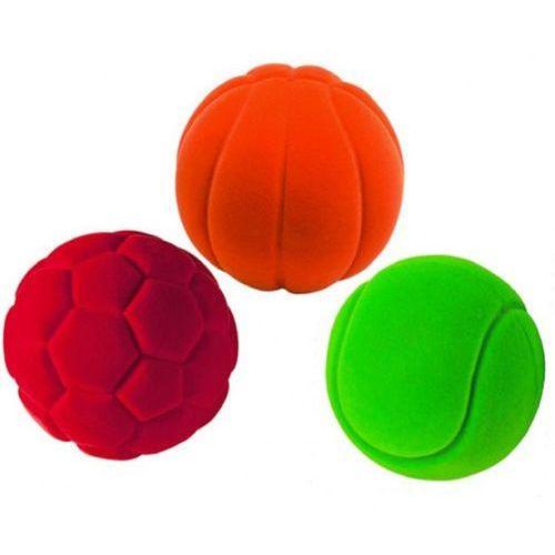 Trzy antystresowe piłki sportowe marki Rubbabu