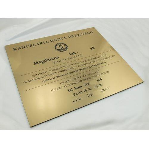 SZYLD KANCELARIA RADCY PRAWNEGO - złoty szczotkowany błyszczący laminat - SZ053 - wym. 42x36cm