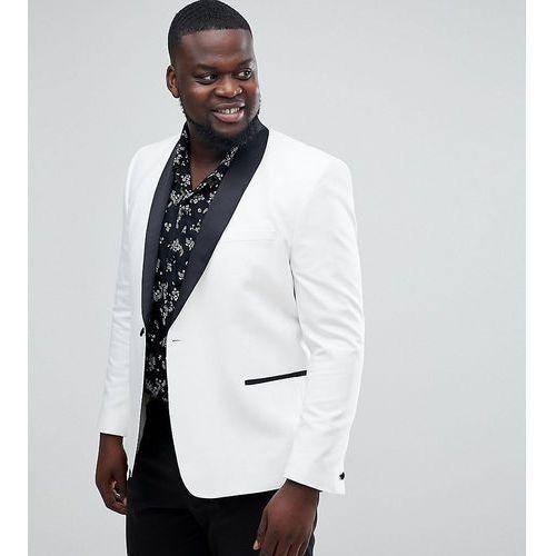 68be6eb9cbbac Marynarki męskie · ASOS DESIGN Plus slim tuxedo suit jacket in white with black  contrast lapel - White