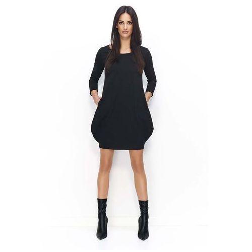 Czarna Dresowa Mini Sukienka Bombka, DNU80bl