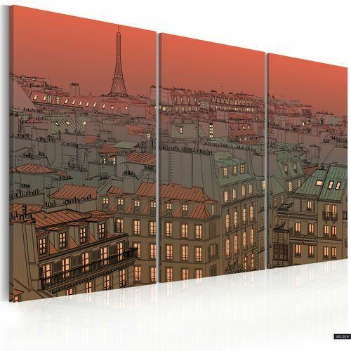 obraz - paryska wieża eiffla na tle zachodzącego słońca 120x80 cm marki Selsey