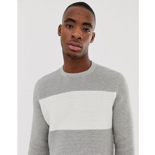 knitted jumper in light grey with white colour block - grey, Bershka
