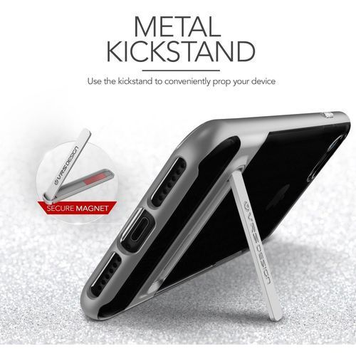 Vrs design Etui crystal bumper do iphone 7 srebrno-stalowy