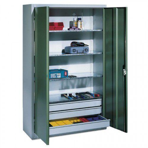 Metalowa szafa warsztatowa - różne wymiary. 3 szuflady i 4 półki.