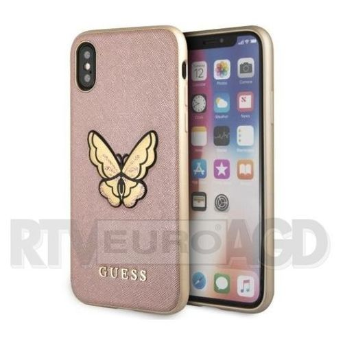 Guess etui hardcase guhcpxespbrg iphone x różowo-złoty butterfly saffiano (3700740432877)