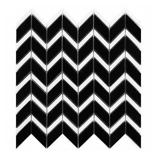 b&w black & white mozaika kamienna pure black chevron mix marki Dunin