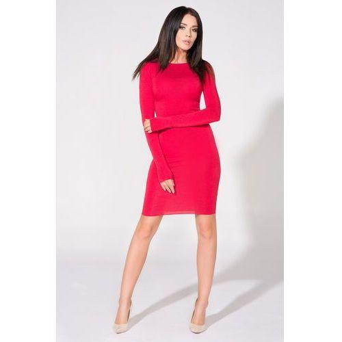 Czerwona Sukienka Dopasowana Dzianinowa z Dekoltem na Plecach, T140re