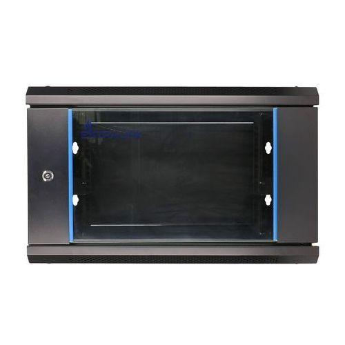 Extralink szafka wisząca rack 6u 600x450 czarna szklane drzwi (5902560367225)