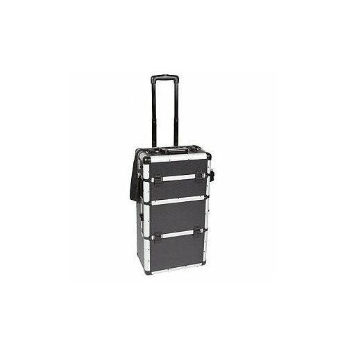 walizka narzedziowa aluminiowa na kółkach - 370 x 225 x 710 mm - czarna marki Perel