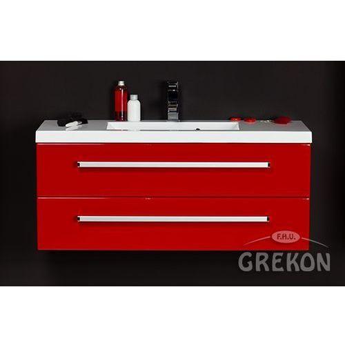 Czerwona szafka wisząca z umywalką 100/39/2 seria Fokus CZ