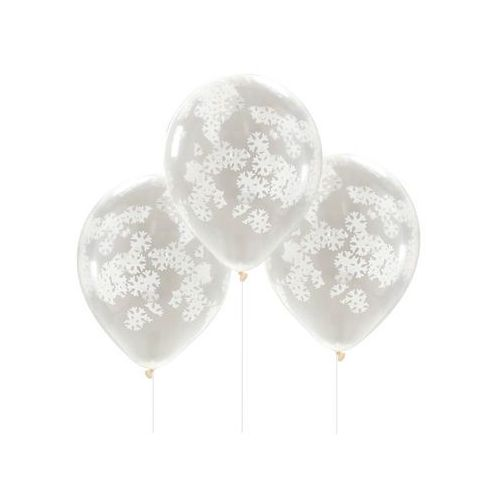 Balony przezroczyste z białymi śnieżynkami - 30 cm - 5 szt. (5055995963378)