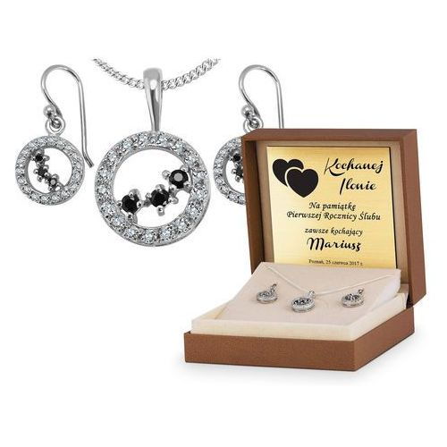 Murrano Srebrny komplet zestaw biżuterii 925 z grawerem ys17
