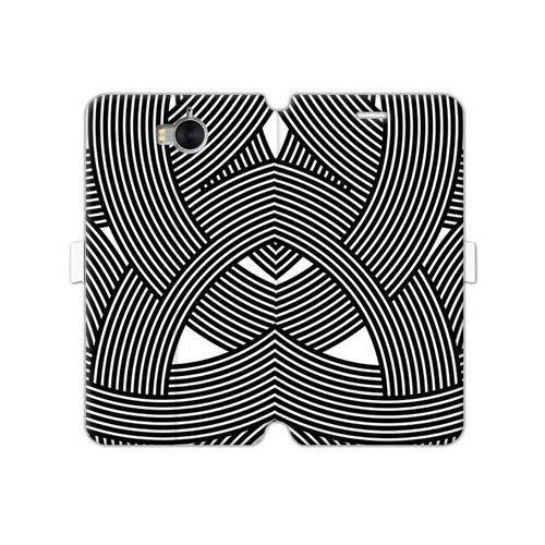 Etuo wallet book fantastic Huawei y6 (2017) - etui na telefon wallet book fantastic - biało-czarna mozaika