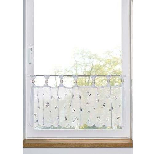 Zazdrostka z kwiatowym haftem bonprix biało-piaskowy