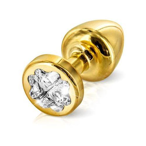 Zdobiony plug analny - Diogol Anni R Butt Plug Clover Gold 25 mm Koniczyna Złoty