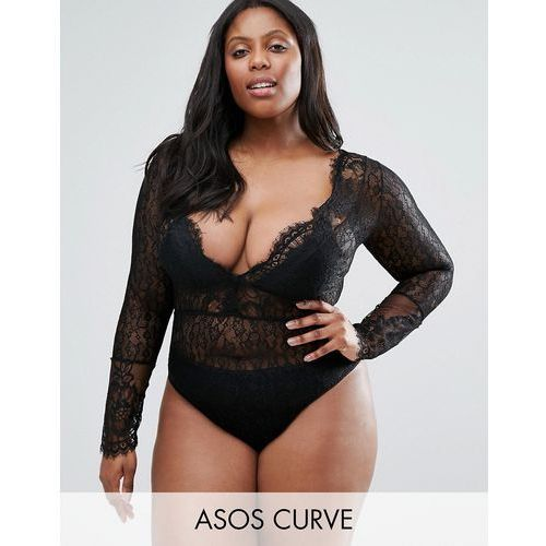 ASOS CURVE EXCLUSIVE Laurie Lace Plunge Long Sleeve Body - Black