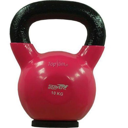 Kettlebell żeliwno-winylowy z gumową podstawą Stayer Sport 10 kg - 10 kg
